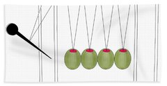 Olives And Toothpick On Newtons Cradle Bath Towel