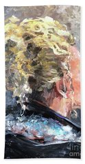 Hand Towel featuring the painting Olivia by Diane Daigle