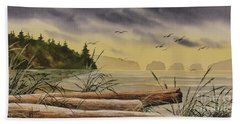 Bath Towel featuring the painting Olympic Seashore Sunset by James Williamson