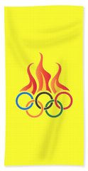 Olympics T-shirt Bath Towel by Herb Strobino