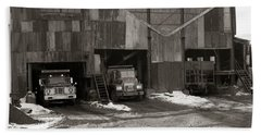 Olyphant Pa Coal Breaker Loading Trucks And Gondola Car Winter 1971 Bath Towel