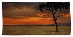 On A  Serengeti Evening  Bath Towel