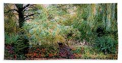 Reflection On, Oscar - Claude Monet's Garden Pond Bath Towel