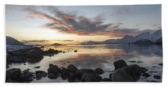 On My Way Through Lofoten 5 Hand Towel by Dubi Roman