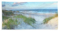 On The Beach Watercolor Bath Towel by Randy Steele