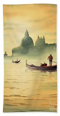 Hand Towel featuring the painting On The Grand Canal Venice Italy by Bill Holkham