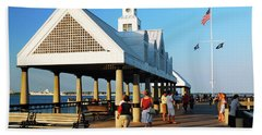 On The Pier Hand Towel by James Kirkikis