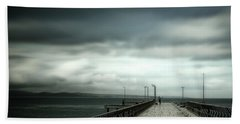 Bath Towel featuring the photograph On The Pier by Perry Webster