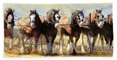 Hand Towel featuring the digital art  On The Plough by Trudi Simmonds