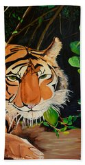Bath Towel featuring the painting On The Prowl by Donna Blossom