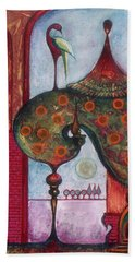 Hand Towel featuring the painting On The Rooftop Of The World by Anna Ewa Miarczynska