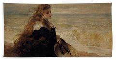On The Seashore Hand Towel by George Elgar Hicks