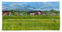 Bath Towel featuring the painting On The Way To Ubud 3 Bali Indonesia by Melly Terpening