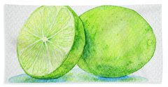 One And A Half Limes Hand Towel by Rebecca Davis
