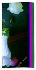 One Carnation And One Rose Bud Hand Towel