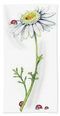 Bath Towel featuring the painting One Daisy And Four Ladybugs by Heidi Kriel