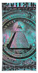 Hand Towel featuring the digital art One-dollar-bill - $1 - Reverse Side by Jean luc Comperat