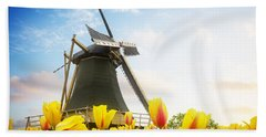 One Dutch Windmill Over  Tulips Hand Towel
