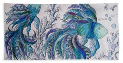 One Fish, Two Fish, Lilac Green And Blue Fish Bath Towel by Megan Walsh