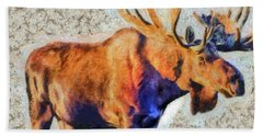 Bath Towel featuring the painting One Handsome Moose by Elaine Ossipov