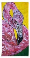 Hand Towel featuring the painting One Hot Pink Flamingo by Ella Kaye Dickey