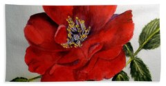 One Lone Wild Rose Hand Towel by Carol Grimes