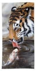 Hand Towel featuring the painting One More Kiss by Sandi Baker