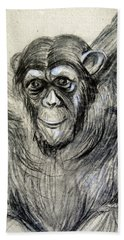 One Of A Kind Original Chimpanzee Monkey Drawing Study Made In Charcoal Hand Towel by Marian Voicu