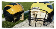 One Old, One New Wolverine Helmets On The Field Hand Towel