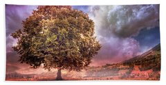 Hand Towel featuring the photograph One Tree In The Meadow by Debra and Dave Vanderlaan