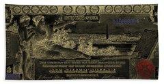 Bath Towel featuring the digital art One U.s. Dollar Bill - 1896 Educational Series In Gold On Black  by Serge Averbukh
