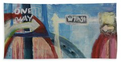 Hand Towel featuring the painting One Way To 7th Street by Susan Stone
