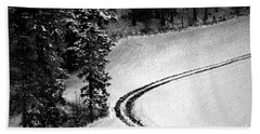 Bath Towel featuring the photograph One Way - Winter In Switzerland by Susanne Van Hulst