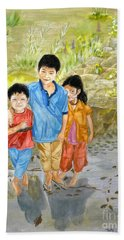 Bath Towel featuring the painting Onion Farm Children Bali Indonesia by Melly Terpening