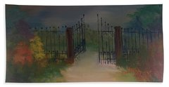 Bath Towel featuring the painting Open Gate by Denise Tomasura