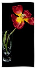Open Red Tulip In Vase Bath Towel