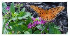 Open Wings Of The Gulf Fritillary Butterfly Bath Towel