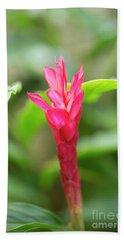Opening Red Ginger Flower Bud Bath Towel