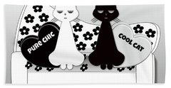 Opposites Attract - Black And White Cats On The Sofa Bath Towel