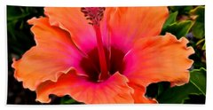 Orange And Pink Hibiscus 2 Bath Towel by Pamela Walton