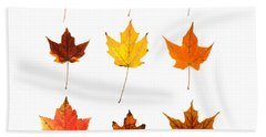 Orange And Yellow Autumn Leaves Hand Towel