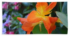 Orange And Yellow Canna Lily 2  Bath Towel by Warren Thompson