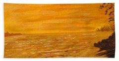 Hand Towel featuring the painting Orange Beach by Ian  MacDonald