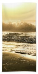 Bath Towel featuring the photograph Orange Beach Sunrise With Wave by John McGraw