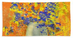 Orange, Blue, And Gold Sparkling Bouquet Bath Towel