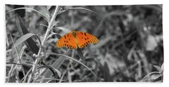 Orange Butterfly In Black And White Background Bath Towel