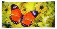 Orange Butterfly On Yellow Dahlias Hand Towel