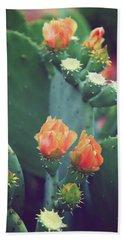 Orange Cactus Bloom Bath Towel