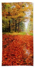 Bath Towel featuring the photograph Orange Carpet by Dmytro Korol