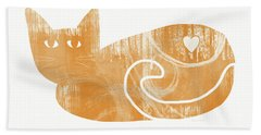 Orange Cat- Art By Linda Woods Hand Towel